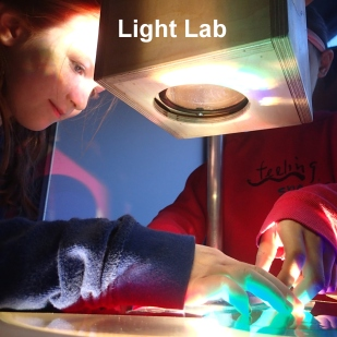 Students may explore light-based phenomena in our light lab. This is a great space for creative play or deep investigations, depending on your students interests.