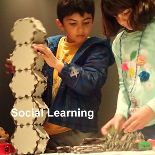 The design of the exhibits and activities at Helix encourage students to work collaboratively and learn together.